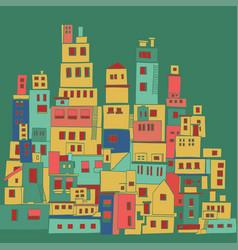 Mediterranean town sunny village indian slums vector