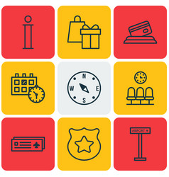 Set of 9 travel icons includes appointment seats vector
