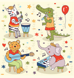 Animals band party music sing concert set vector