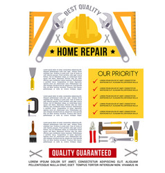 Poster template for home repair work tools vector