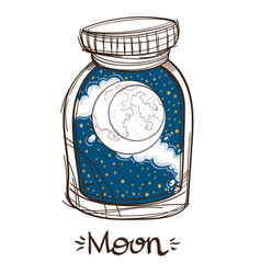 Moon in a glass jar the planet of the solar vector