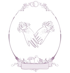 Gloves bride wedding accessories vector image
