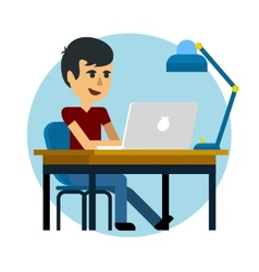 Man working with laptop vector