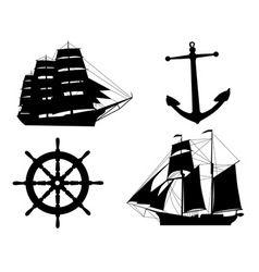Silhouettes of sailboats anchors and steering whee vector