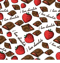 Pattern with chocolate and strawberry vector