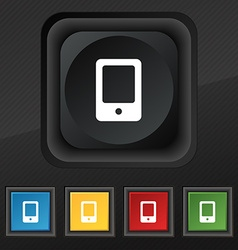 Tablet icon symbol set of five colorful stylish vector