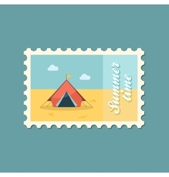 Tent flat stamp vector