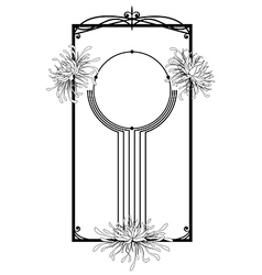 Chrysanthemum frame in black vector