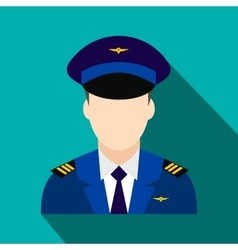 Captain of the aircraft flat icon vector