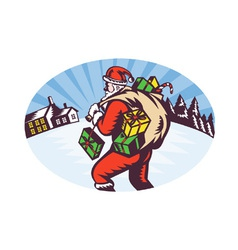 Snowing santa icon vector