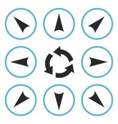 Circled directions flat icon set vector