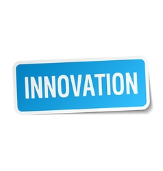 Innovation blue square sticker isolated on white vector