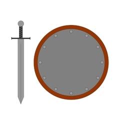 Set round shield sword silver 2807 vector