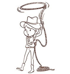 A plain sketch of a cowgirl vector