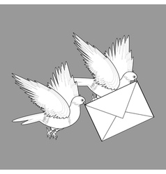 A sketch of two flying doves with a letter vector image vector image