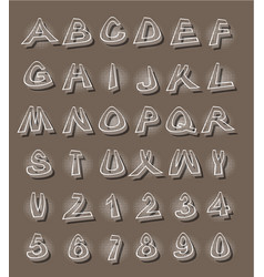 Alphabet in modern style with distorted letters vector