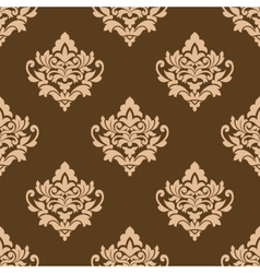 Beige colored on brown floral arabesque seamless vector image