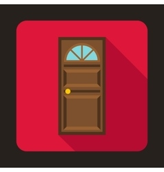 Brown door with an arched glass icon vector