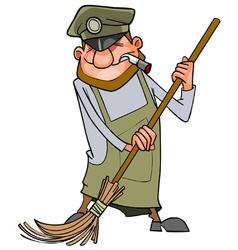 Cartoon man janitor sweeps broom vector