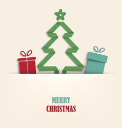 Christmas card with tucked tree and gifts template vector