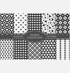 Collection of hearts seamless patterns happy vector
