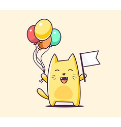 Color bcharacter cat with flag and balloo vector