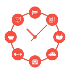 concept of daily routine with red simple watches vector image vector image