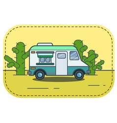 Cute retro food truck in desert in vector