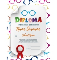 Diploma template for kids with reading glasses vector