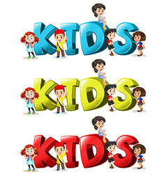 Font design for word kids in three colors vector