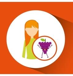 Girl cartoon and grape cute fruit icon vector