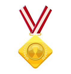 Gold medal with red ribbon icon cartoon style vector