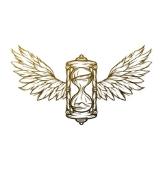 Hourglass and wings Sign symbol vector image vector image