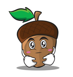 Hugging acorn cartoon character style vector