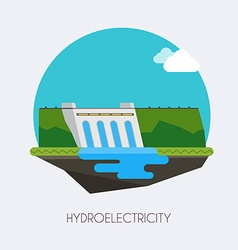 Hydroelectric power station Landscape and vector image