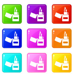 Lighter icons 9 set vector