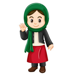 Little girl in kuwait costume waving vector