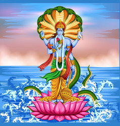 Lord vishnu standing on lotus giving blessing vector
