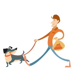 Man with its dog and a bag for gogs poop vector
