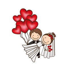 Married couple with red heart bombs vector