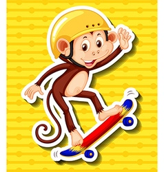 Monkey with helmet on playing skateboard vector
