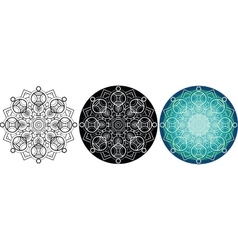 Natural mandala for coloring book round pattern vector