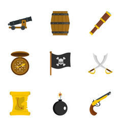 Pirates armor icon set flat style vector