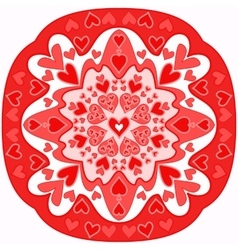 Red abstract zentangle heart mandala vector