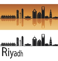 Riyadh skyline in orange background vector image
