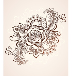 Rose Painted with Henna vector image