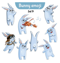 set of cute rabbit characters set 9 vector image