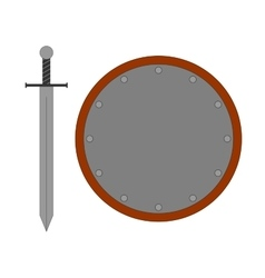 Set round shield sword silver 2807 vector image