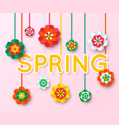 Spring background with multicolored cutout paper vector