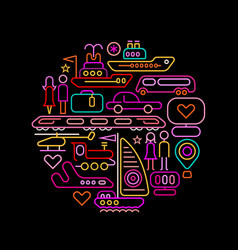travel round shape neon colors vector image